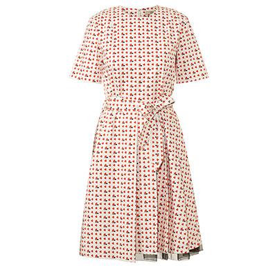 Orla Kiely Busy Bee Print Side Pleat Dress poppy
