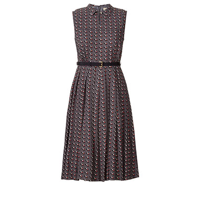 Orla Kiely Resort Collection Ditsy Shoe Pleated Dress slate