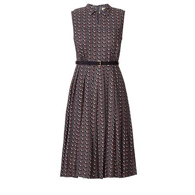Orla Kiely Resort Collection Ditsy Shoe Pleated Dress slate