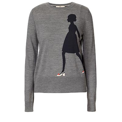 Orla Kiely Resort Collection Sixties Lady Intarsia Sweater grey and navy