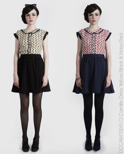 Camille Dress - Yellow & Black or Navy & red