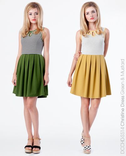 Christine Dress - Green or Mustard