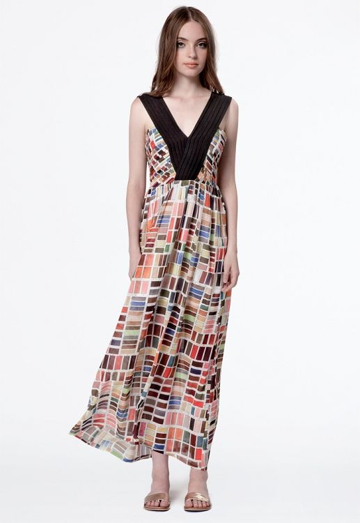 Cross My Heart Maxi Dress - Paint Chips Print