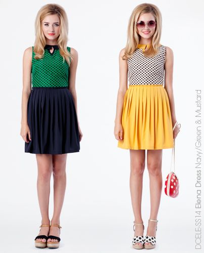Elena Dress - Navy & Green or Mustard