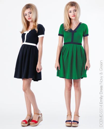 Emily Dress - Navy and Green