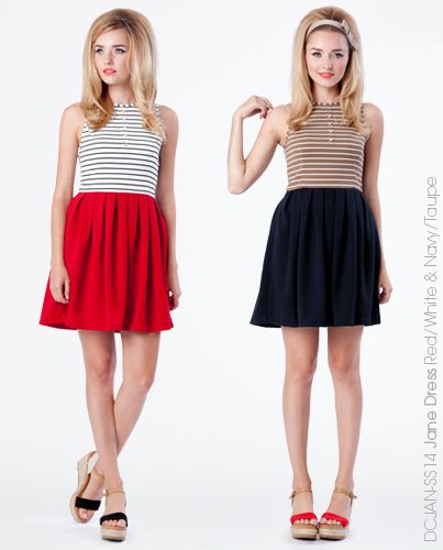 Jane Dress - Red & Navy