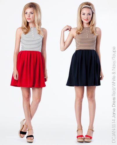 Jane Dress - Red & Navy