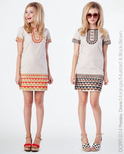 Presley Dress - Orange & Mustard or Black & Brown