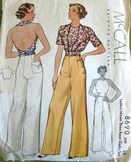 McCalls Sewing Pattern 8690 1930s
