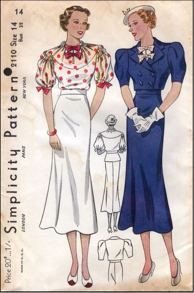 Simplicity Sewing Pattern 2110 1930s