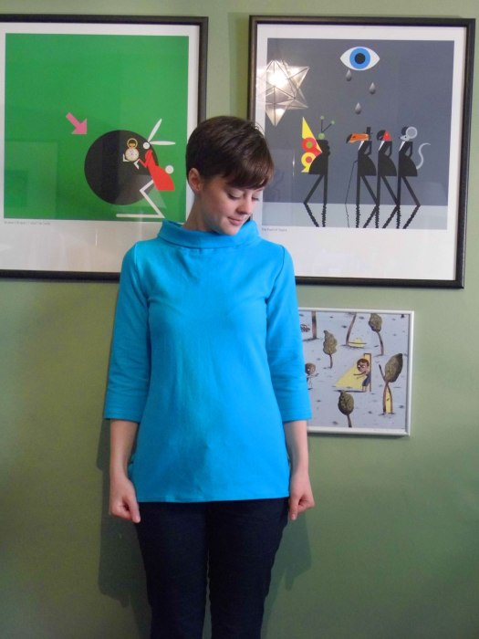 Turquoise Coco Top with Funnel neck