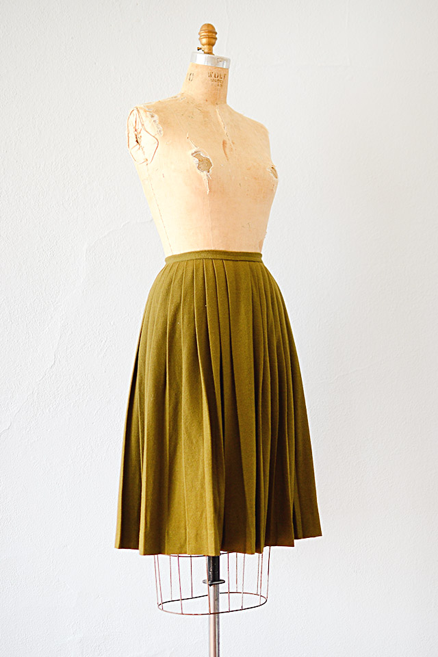 1960s Olive Green Wool Pleated Skirt