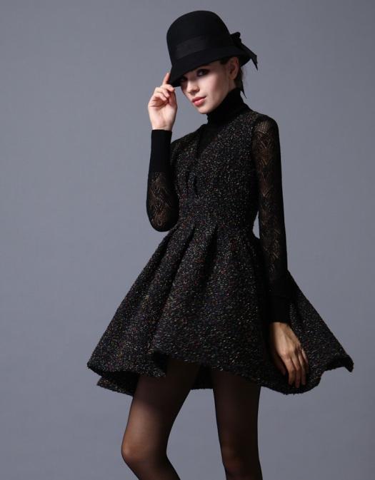 Black Sparkly Wool Dress