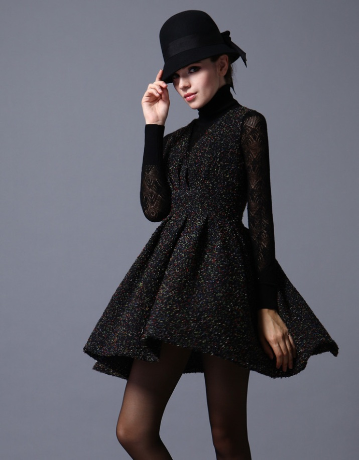 Black Sparkly Wool Dress