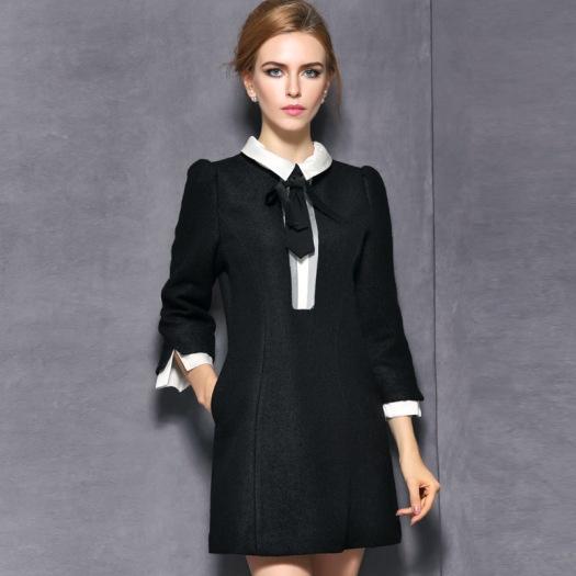Black Wool Babydoll Dress
