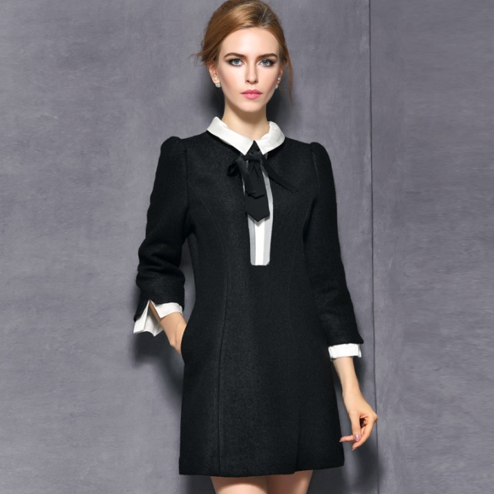 Black Wool Babydoll Dress