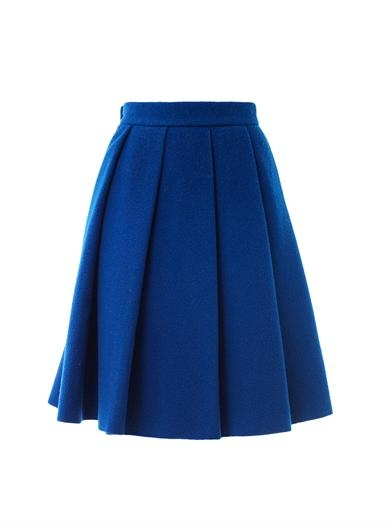 Blue Wool Pleated Skirt