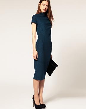 Blue Wool Wiggle Dress