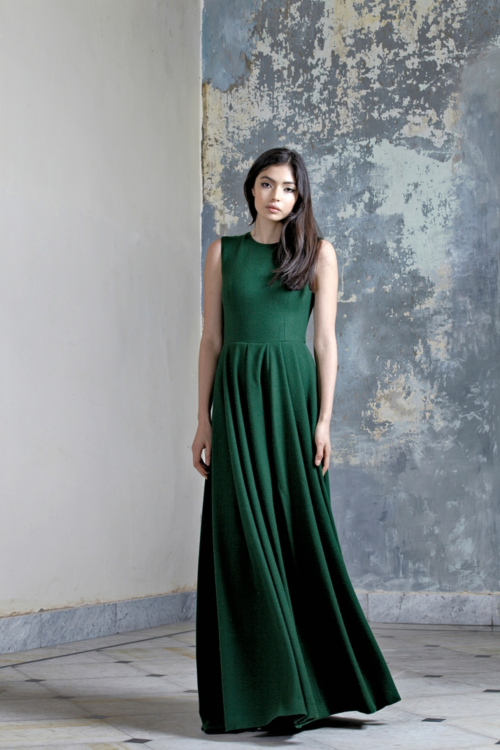 Green Wool Maxi Dress
