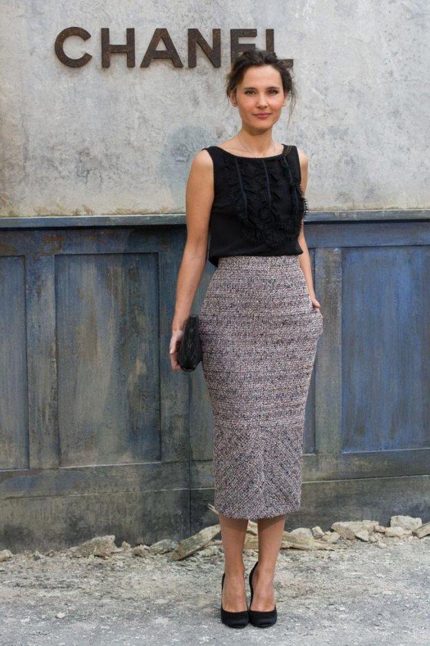 Grey Wool Pencil Skirt