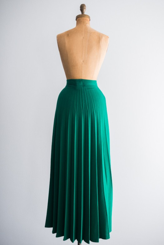 Jade Wool Pleated Skirt