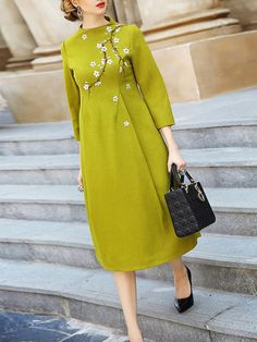 Lime Cocoon Wool Dress with Blossom