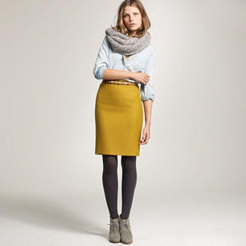 Mustard Yellow Wool Pencil Skirt