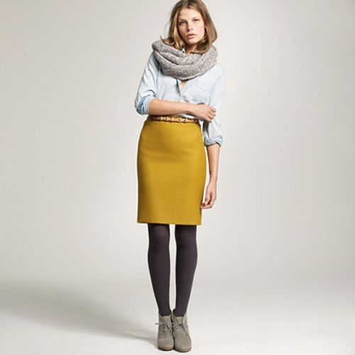 Mustard Yellow Wool Pencil Skirt