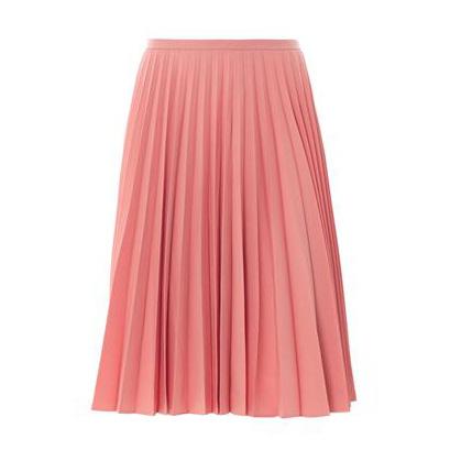 Pink Wool Pleated Skirt
