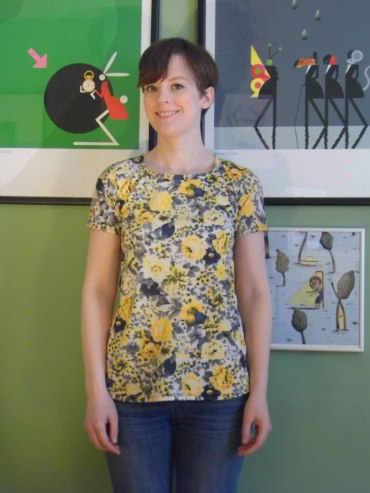 Yellow and Navy Flowery Deer and Doe Plantain Tee