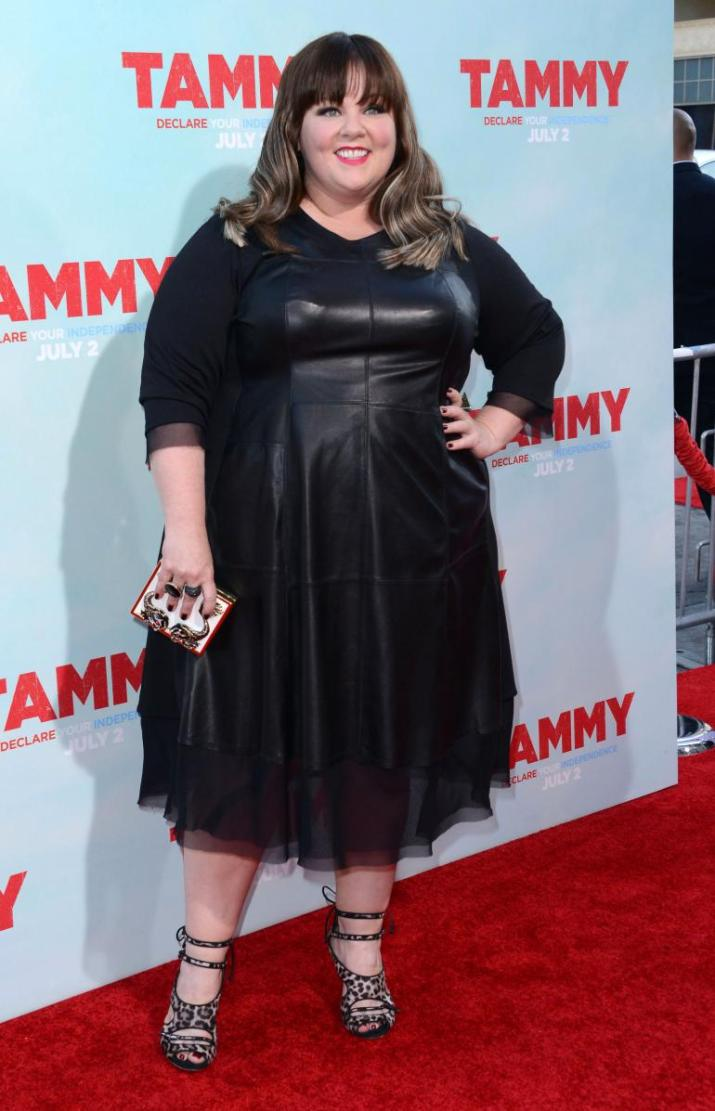 melissa-mccarthy-leather-dress