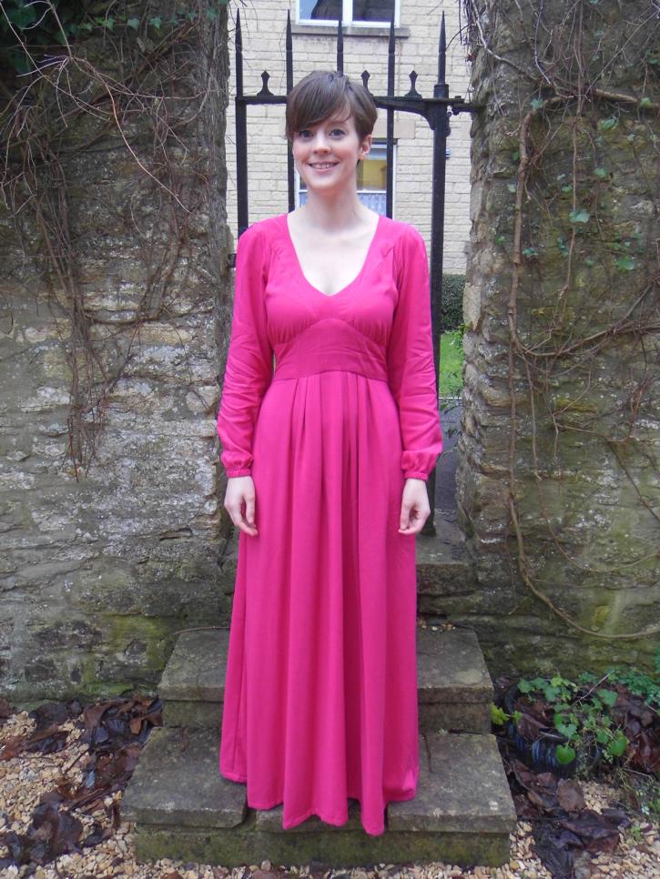 Bright Pink Viscose Alix Maxi Dress - By Hand London